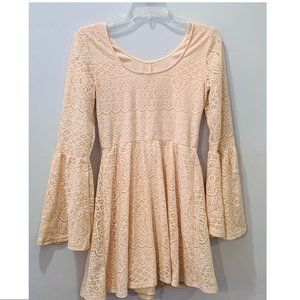 Speechless Cream Lace Bell Sleeve Dress ~ Small